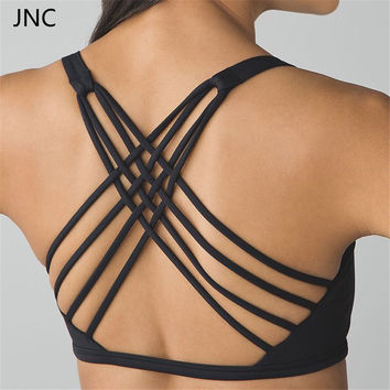 JNC Criss Cross Black Padded Push up Sports Bra