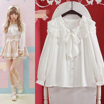 Sweet Girl Lolita Bow Collar Shirt Frill Lantern Sleeves Chiffon Blouse Tops