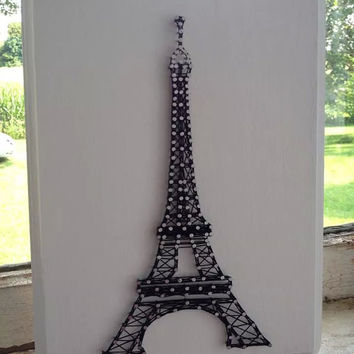 Eiffel Tower Custom String Art on Wooden Plaque