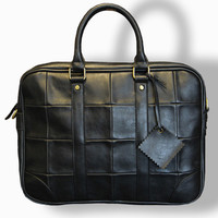 Vintage Leather Computer Bag | Old-Time Black