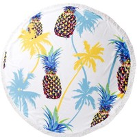 Pineapple and Palm Tree Round Beach Towel