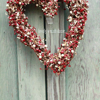 Valentine wreath , heart wreath ,Cream and Red berry grapevine wreath , Winter wreath ,Valentines day Wreath , Mothers day  Wreath