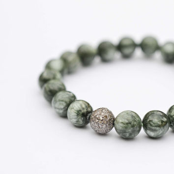 Pave Diamond & Russian Seraphinite Bracelet Sparkly Green Bead Bracelet Genuine Diamond Gemstone Bracelet Mens Womens Luxury Jewelry