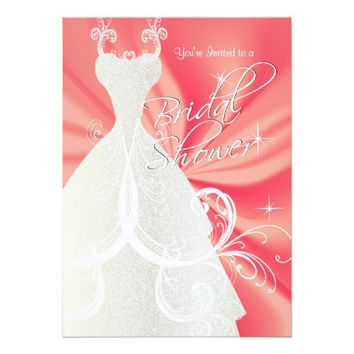 Bridal Shower in Coral Satin 5x7 Paper Invitation Card