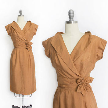 Vintage 1950s Dress - Copper Raw Silk Fitted Wiggle Cocktail Party - Small