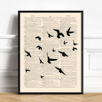 Birds Flying Flock, Edgar Allan Poe, Flock Of Bird Poster, Gothic Bird Print, Allan Poe Nevermore, Xmas Print Gift, Birds Kitchen Decor, 202