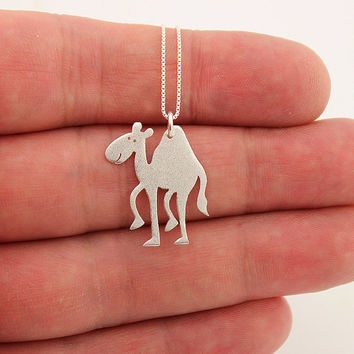 Funny camel sterling silver necklace pendant Shiny texture Finish - comes with italian box style chain choose your length 16 18 20 inch