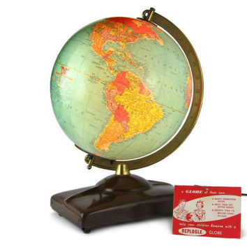 "1949 Lighted World Globe / 10"" Replogle Illuminated Terrestrial Glass Globe with Original Tag"