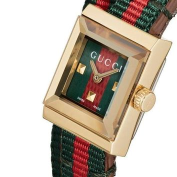 DCCKR2 GUCCI Stylish Couple Red Green Stripe Canvas Spiral Wound Square Quartz Watch Wrist Watch