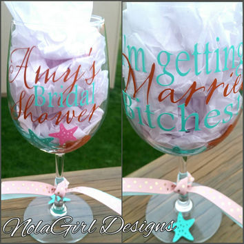 Beach Wedding Wine glass, Bridal party,  mother of the Bride,  Mother of the Groom,  Fatherof the Bride,  Bohemian, Destination Wedding, sun