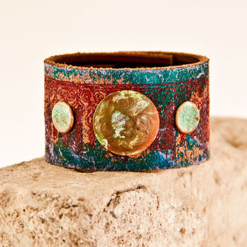 Leather Cuff Holiday Shopping Wristbands Bracelets Handmade Jewelry / Women's Bohemian Style Eco Friendly Christmas Gift Guide