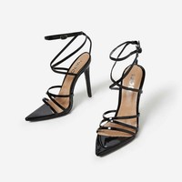 Kaia Pointed Barely There Heel In Black Patent