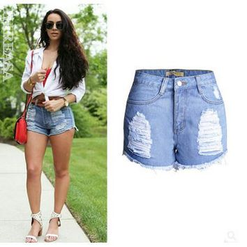 2017 Womens Summer Hole High Waist Denim Shorts Ripped Curling Jeans Shorts New Arrival Cowboy Short Feminino Size 32/44 K185