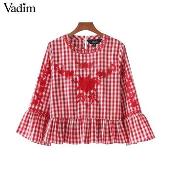 Sweet Floral Embroidery Plaid Shirts Flare Bell Sleeve Ruffles Vintage Blouse Ladies Casual Street Wear Tops Blush