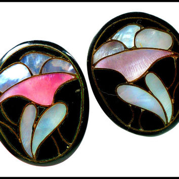 Vintage Black Lucite & MOP Earrings, Inlaid Mother of Pearl Lotus Flower, Pink Blue MOP, Pierced Earrings, Large Mod Chunky Style