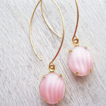 Pink Stripe Drop Earrings, Vintage Rhinestones, 14k Gold Fill, Long Modern Dangles, Summer Jewellery, Baby Pink Earrings, Pastel Earrings