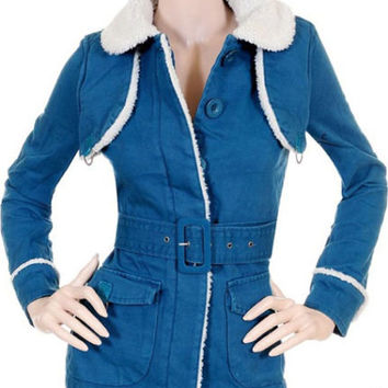 New Womens Outwear Jacket Coat Top Blue White S M L