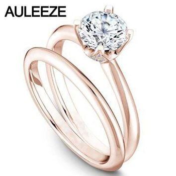 14KT Solid Rose Gold Lab Grown Diamond Ring 1 Carat Solitaire
