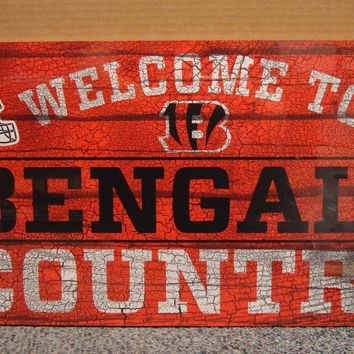 "CINCINNATI BENGALS WELCOME TO BENGALS COUNTRY WOOD SIGN 13""X24'' NEW WINCRAFT"