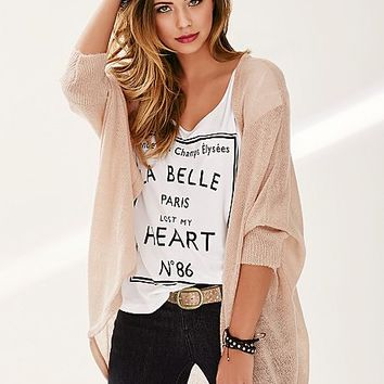 Over sized cardigan, love print top
