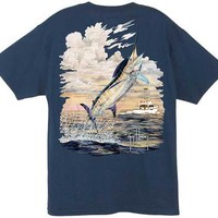 Guy Harvey Woodnut Men's Back-Print Tee w/ Pocket in Aqua Blue, Navy or White