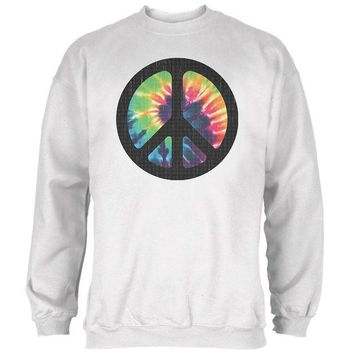 LMFGQ9 Tie Dye Peace Sign Distressed Halftone Mens Sweatshirt