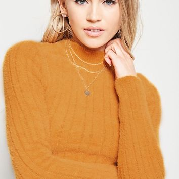 Fuzzy Ribbed Knit Sweater