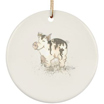 Muddy Pig Watercolor by Deja Wolfe Christmas Ornament