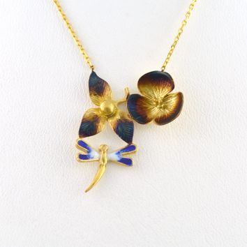 925 Sterling Silver Yellow Gold Plated Dragonfly Flower Necklace