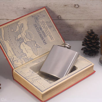 Vintage Hollow Book Safe  & Hip Flask -- The Big Fisherman
