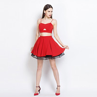 Red Spaghetti Strap Cut Out Top And Pleated Mini Skirt With  Black Mesh Tutu