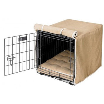 MicroLinen Luxury Dog Crate Cover — Flax