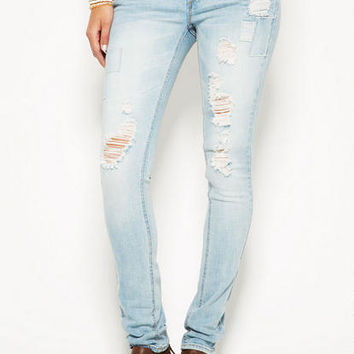 Jayden Patchwork Skinny - Light Blue