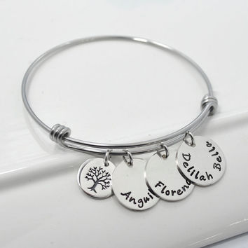 Personalized Adjustable Mommy Bangle Bracelet | Tree of Life Bracelet