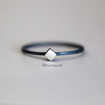 Size 6, Oxidized Sterling Silver, Handmade Jewelry, Square (Silver stone) Ring, Thin Rings, Simple Rings, Jewelry, Ready To Ship!