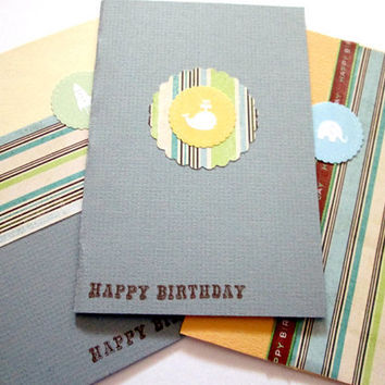 Little Boy Birthday Cards, Blue, Yellow, Brown, and Green, set of 3