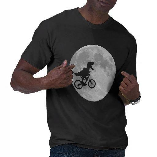 Dinosaur on a Bike In Sky With Moon T-shirt from Zazzle.com