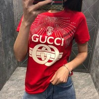 Gucci Woman Men Print Shirt Top Tee