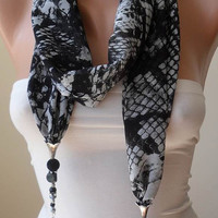 New - Scarf Necklace - Jewelry Scarf - Golden Colors - Black and White Animal Print - Trendy - Fashion