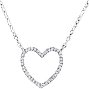 10kt White Gold Womens Round Diamond Heart Love Pendant Necklace 1/10 Cttw