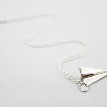 Silver Origami Paper Airplane Charm Necklace