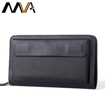 Genuine Leather Wallets Phone Men's Leather Wallets Long Wallet Clutch Male Purse Money Clip Wallet Fashion