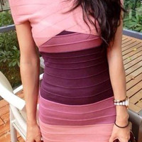 Pink and Purple Off-The-Shoulder Bodycon Dress