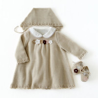 Knitted baby dress, cap and shoes set. Baby girl, in pearl. 100% merino wool. READY TO SHIP in size Newborn