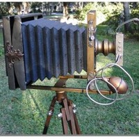 Antique Box Camera on Telescoping Stand Antique Box Camera on Telescoping Stand [old_box_camera on stand] - $179.00 : The Kings Bay, Home Bar Furniture