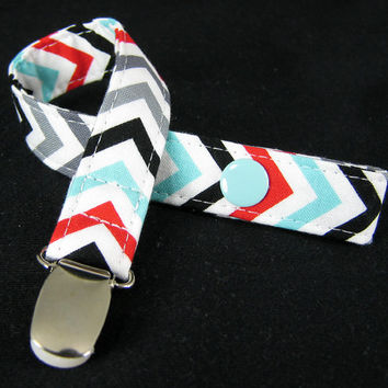 Pacifier Clip - Snap or Loop - Chevron Remix Celebration by Robert Kaufmann