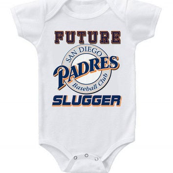 New Cute Funny Baby One Piece Bodysuit Baseball Future Slugger MLB San Diego Padres