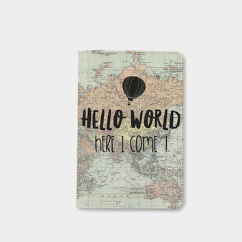 Hello world here i come Passport holder map passport cover vintage leather passport wallet by wanderlustcover shop