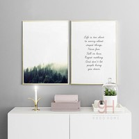 Forest Landscape Canvas Art Print Painting Poster, Nordic Style Wall Pictures for Home Decoration, Wall Decor BW004
