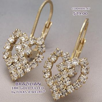 Gold Layered Women Heart Leverback Earring, with White Cubic Zirconia, by Folks Jewelry